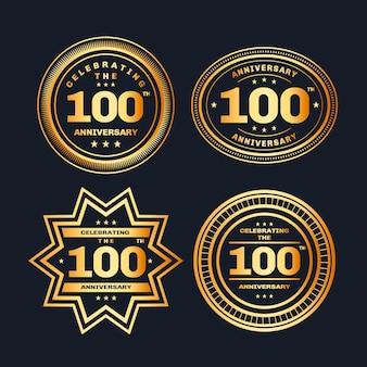 Honderd verjaardag badges ingesteld Premium Vector