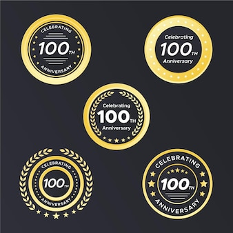Honderd verjaardagsbadges Premium Vector