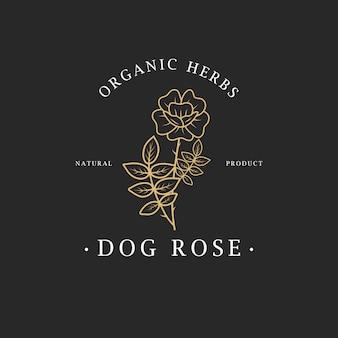 Hondsroos bloem. logo voor spa- en beautysalon, boetiek, biologische winkel, bruiloft, bloemenontwerper, interieur, fotografie, cosmetica. botanisch bloemenelement.