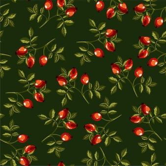 Hondsroos plant met bladeren en bessen, eglantine naadloos patroon geïsoleerd op groen