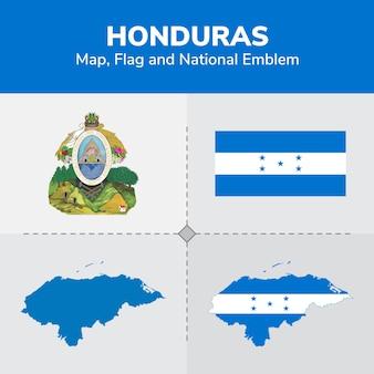 Honduras kaart, vlag en nationale embleem