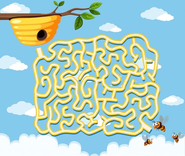Honey bee doolhof spel sjabloon