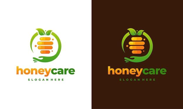 Honey care logo-ontwerpconcept, honeycomb-logo-ontwerpsjabloon, pictogramsymbool