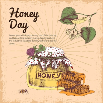 Honey day hand getrokken ontwerp