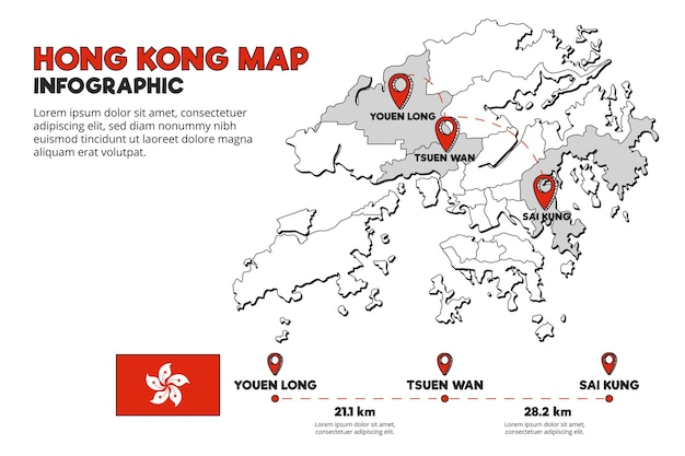 Hong kong kaart infographic sjabloon