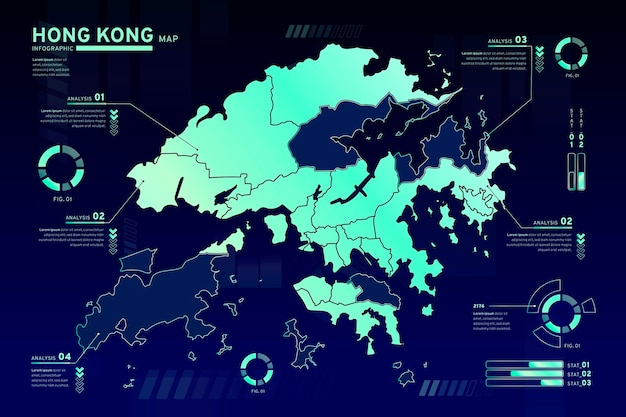 Hong kong kaart infographics sjabloon