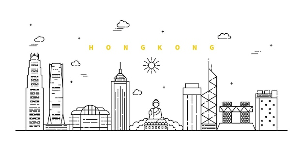 Hong kong stad. modern plat lijnlandschap