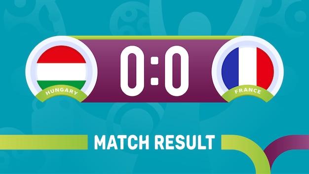 Hongarije frankrijk wedstrijdresultaat, europees voetbalkampioenschap 2020 illustratie.