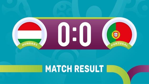 Hongarije portugal wedstrijdresultaat, europees voetbalkampioenschap 2020 illustratie.