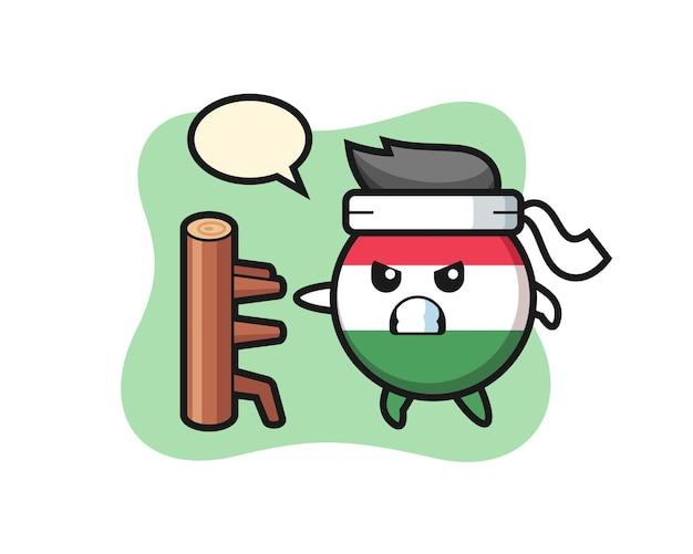 Hongarije vlag badge cartoon afbeelding als een karate-jager, schattig stijlontwerp voor t-shirt, sticker, logo-element