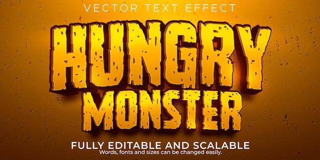 Hongerig monster teksteffect bewerkbare cartoon en komische tekststijl