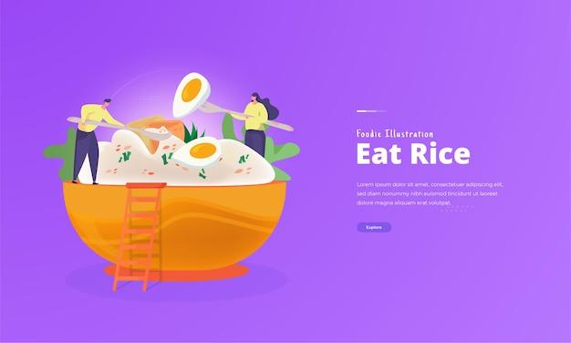 Hongerige mensen eten rijst voor foodie illustratie concept