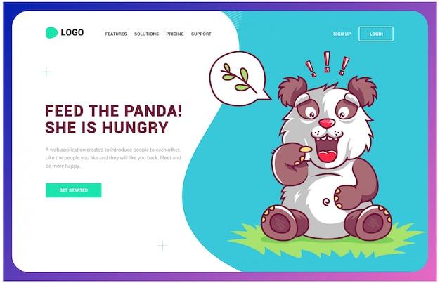 Hongerige panda vraagt voedsel. website