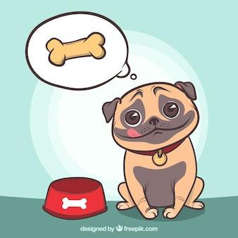 Hongerige pug aan het denken over eten