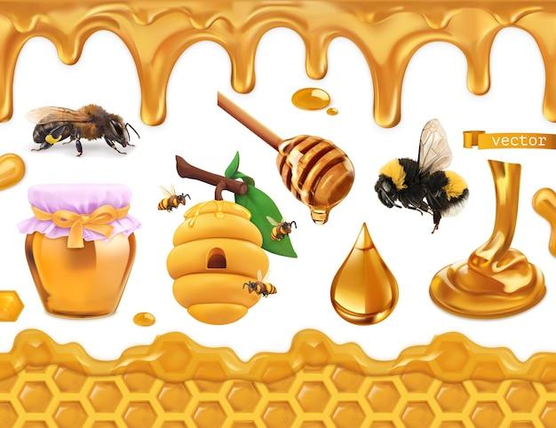 Honing 3d-realistische set. bij, bijenkorf, honingraat en druppels