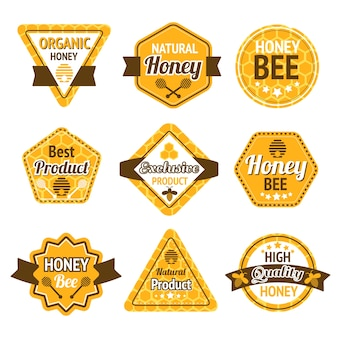 Honing beste hoge kwaliteit biologische producten labels set geïsoleerde vector illustratie