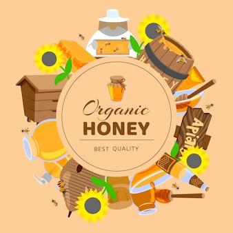 Honing cartoon gekleurde frames zonnebloem, vat, bijenkorf, honingraat honingbijen