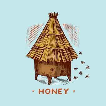 Honing en bijen. honingraten en bijenkorf en bijenstal.