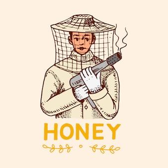 Honing en bijen. imker man.