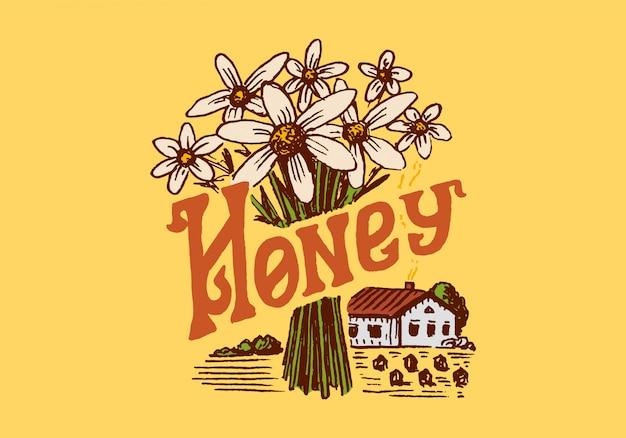 Honing en bijen. vintage logo voor typografie, winkel of uithangborden.