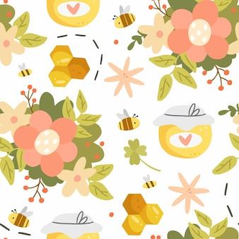 Honing en bloemen naadloos patroon