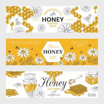 Honing etiketten. honingraat en bijen vintage schets achtergrond, hand getrokken biologisch voedsel retro