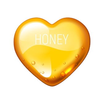 Honing hart op witte achtergrond