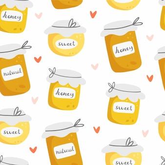 Honing naadloze patroon met verschillende potten honing in schattige cartoon stijl