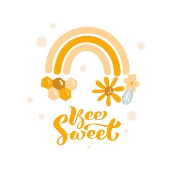 Honing regenboog vectorillustratie en kalligrafische tekst bee sweet. scandinavische doodle-stijl