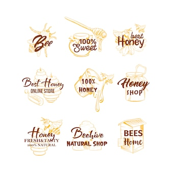 Honing schetsen logo's set, bijenkorf, honingpot, vat, pot, lepel en bloem handtekeningen