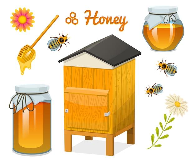 Honing set, bijen en korf, lepel en honingraat, korf en bijenstal. natuurlijk landbouwproduct. bijenteelt of tuin, bloemkamille.