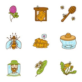 Honing set, hand getrokken stijl