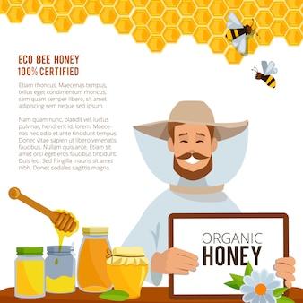 Honing smakelijk en zoet, gezondheidsvoedselposter