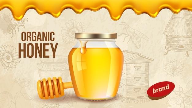 Honing van de boerderij. advertentieplakkaatsjabloon met realistische honing, gezonde biologische boerderijproducten die achtergrond verpakken. boerderij honing, voedsel zoet biologisch, bijenteelt natuurlijke illustratie