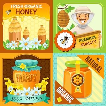 Honing vierkante samenstelling set met beschrijvingen van verse biologische honing premium kwaliteit biologische natuurlijke vectorillustratie