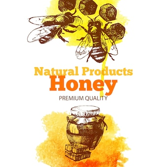 Honingachtergrond met hand getrokken schets en waterverfillustraties. menu- en pakketontwerp
