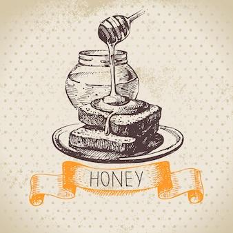 Honingachtergrond met hand getrokken schetsillustratie