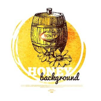 Honingbanner met handgetekende schets en aquarelillustratie