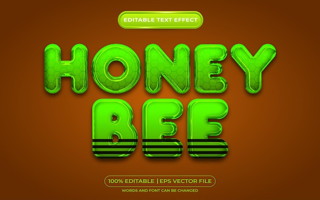 Honingbij bewerkbare teksteffect sjabloonstijl