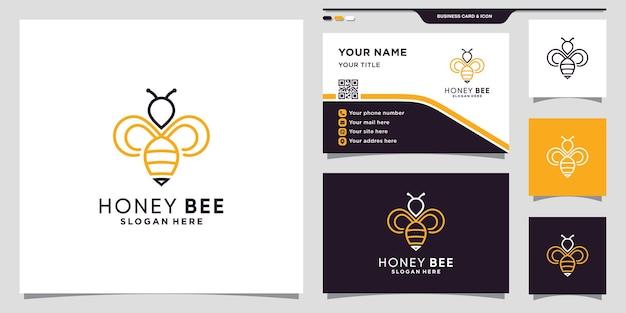 Honingbij logo icoon met lineaire stijl bijen logo en visitekaartje ontwerp premium vector