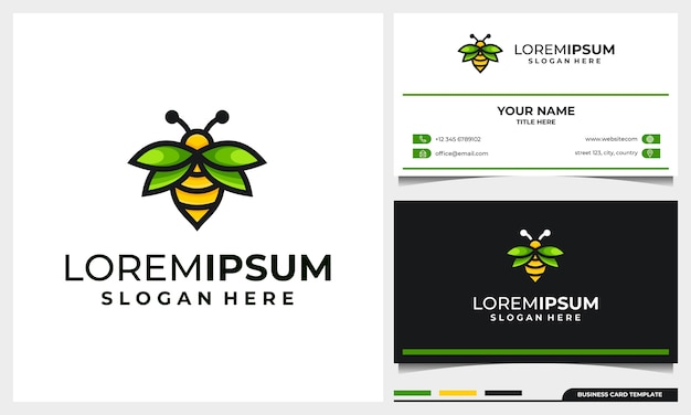 Honingbij logo-ontwerp met vleugelblad concept en sjabloon voor visitekaartjes