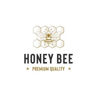 Honingbij logo sjabloon geïsoleerd op wit