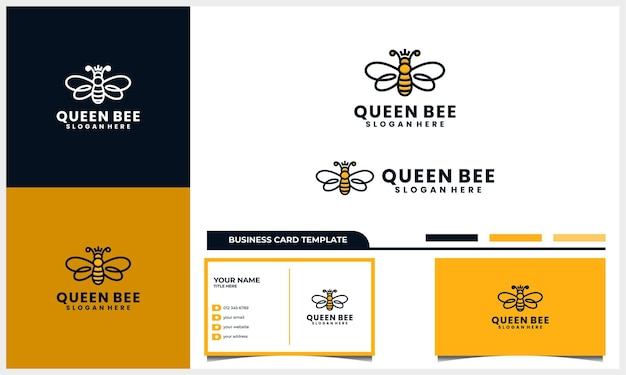 Honingbij met kroon of koningin symbool logo en sjabloon voor visitekaartjes