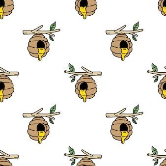 Honingbij naadloze patroon bijenkorf kam cartoon
