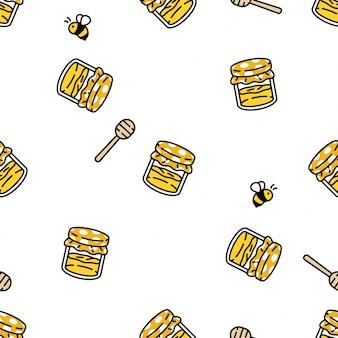 Honingbij naadloze patroon bijenkorf kam