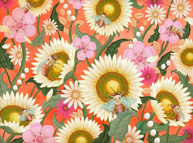 Honingbijen en bloemen achtergrond, retro hand getrokken ets arcering stijl in kleurrijke toon