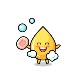 Honingdruppelkarakter baadt terwijl hij zeep vasthoudt, schattig stijlontwerp voor t-shirt, sticker, logo-element