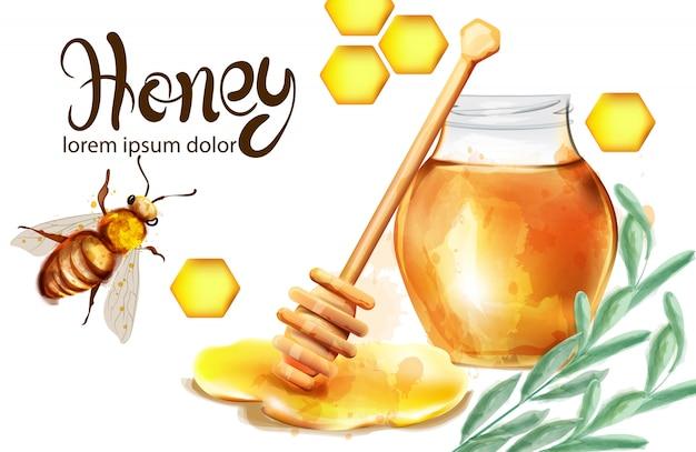 Honingraat aquarel illustratie