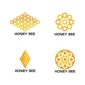 Honingraat bee dier logo vector afbeelding