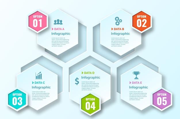 Honingraat gradiënt infographics met pictogrammen
